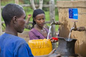 Residents fetch water at a water point in Amari Yewebesh Kebele in Amhara Region of Ethiopia.